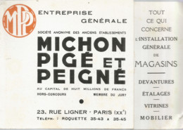 F152 / CDV Carte Publicitaire De Visite PUB Advertising Card / MICHON PIGE Et PEIGNE PARIS Magasin VITRINES ETALAGES - Tarjetas De Visita