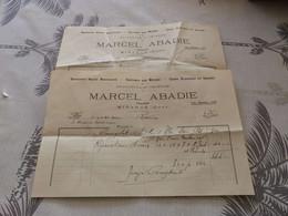 13/9. 41 - Factures X 2, Draperies , Costumes Sur Mesure, Marcel Abadie , Tailleur à Mirande,  Gers, 1940 - Vestiario & Tessile