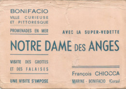 F152 / CDV Carte Publicitaire De Visite PUB Advertising Card / CORSE BONIFACIO Notre Dame Des Anges PROMENADE MER - Tarjetas De Visita