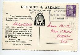 """87 LIMOGES  Carte PUBLICITE Pour Ets DROGUET Et ARDANT Editeurs ' Missels Du R P Morin """"    D17  2021 - Limoges"""