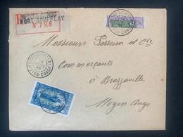 Lettre Recommandée 14/06/26 Fort Soufflay Demi Timbre No 71 + 1/2 Timbre No 87 Pour Brazzaville  Au Dos Passage Ouesso - Covers & Documents