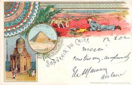 Egypte - Le Caire - Souvenir Du Caire 1902, Divertissement D'un Pacha, Pyramide, Tombeau (combat Lion Contre Serpent) - Cairo