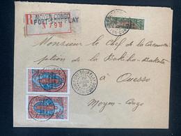 Lettre Recommandée 22/06/1926 Moyen Congo Fort Soufflay Demi Timbre No 83 Et No 99 X2 - Covers & Documents