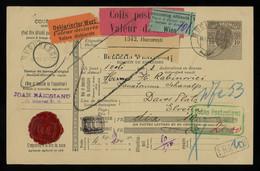 TREASURE HUNT [03405] Romania 1913 10b Parcel Card Sent From Bucuresti To Davos, Switzerland, With Transit Pmks. On Back - Postpaketten