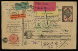 TREASURE HUNT [03414] Romania 1907 10b Parcel Card From Bucuresti To Davos, Switzerland W/ Predeal Transit Pmk. On Back - Postpaketten