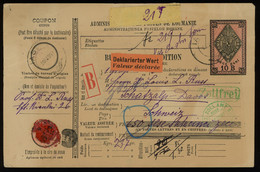 TREASURE HUNT [03415] Romania 1907 10b Parcel Card From Iasi To Davos, Switzerland With Burdujeni Transit Pmk. On Back - Postpaketten