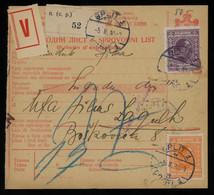 TREASURE HUNT [03495] Yugoslavia 1930 Parcel Card Sent From Split To Zagreb Bearing King Alexander 20 D + 30 D - Brieven En Documenten