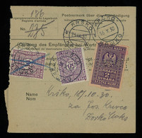 TREASURE HUNT [03498] Germany 1930 Parcel Card From Grefrath To Krško, Yugoslavia With Yugoslavia 2D +50p (x2) On Back - Brieven En Documenten