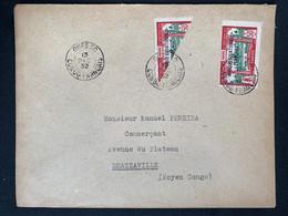 Lettre Recommandée 13/12/1932 Moyen Congo Demi Timbre No 103 Du Gabon Pour Brazzaville - Covers & Documents