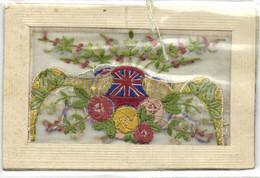 Carte Brodée Drapeau Anglais + Décors Fleurs Et Autres RV - Embroidered