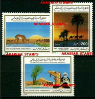 LIBYA MNH 1992 TOURISM OASIS DESERT SAHARA TUAREG ANIMALS CAMELS HORSES GAZELLES - Libia