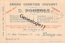 75 25839 PARIS SEINE - Grand Chantier Ouvert D. POUZOLS Succ CHAMBOZ Bois Charbon Rue Tlemcen - Tarjetas De Visita
