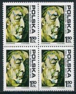 POLAND 1974 Neruda Anniversary Block Of 4 MNH / **. Michel 2352 - Unused Stamps