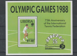 Liberia 1988 Seoul Olympic Games Tennis Souvenir Sheet MNH/** (H70) - Summer 1988: Seoul