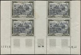 ** POSTE AERIENNE - 29  Paris, 1000f., BLOC De 4 CD 15/12/49, 1 T. Pli, Sinon TB - 1927-1959 Mint/hinged