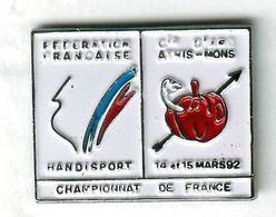 Pin's Tir à L'arc Archery Fédération Française Handisport Athis-Mons Pomme Ver De Terre Apple Earthworm - Tiro Con L'Arco