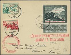 Let Spécialités Diverses - L.V.F. 3, 7 Et 10 Obl. FELDPOST 10/2/43 S. Env., Cachet LVF 1er Bataillon Et Griffe Rouge LVF - Kriegsausgaben