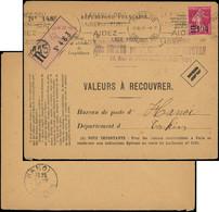 Let LETTRES DU XXe SIECLE - N°228 Obl. Méc. Paris 30/4/27 S. Env. (entière) De Valeurs à Recouvrer Pour Le TONKIN, TB - Cartas