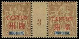 * Millésimes Des Colonies - CANTON 11 : 30c. Brun, PAIRE Mill.3, Forte Ch., TB - Ohne Zuordnung