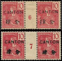 ** Millésimes Des Colonies - CANTON 37 : 10c. Rose, 2 PAIRES Mill.6 Et 7, N°6 Intervalle *, TB - Ohne Zuordnung
