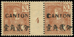* Millésimes Des Colonies - CANTON 41 : 30c. Brun, PAIRE Mill.4, Gomme Coloniale, TB - Ohne Zuordnung