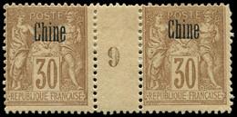 * Millésimes Des Colonies - CHINE 9 : 30c. Brun, PAIRE Mill.9 Déc. Et Forte Ch., TB - Non Classificati