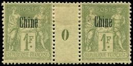 * Millésimes Des Colonies - CHINE 14 : 1f. Olive, PAIRE Mill.0, Forte Ch., TB - Non Classificati