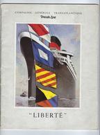 Vieux Papiers Revue Livre Illustré Publicité Compagnie Générale Transatlantique French Line Paquebot Liberté - Pubblicitari