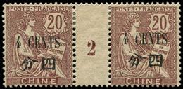 * Millésimes Des Colonies - CHINE 94 : 4c. Sur 20c. Brun-lilas, PAIRE Mill.2, Gomme Coloniale, TB - Non Classificati