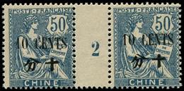 * Millésimes Des Colonies - CHINE 97 : 10c. Sur 50c. Bleu, PAIRE Mill.2, Gomme Coloniale, TB - Non Classificati
