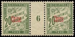 * Millésimes Des Colonies - CHINE Taxe 4 : 20c. Olive, PAIRE Mill.6, Ch. Légère, TTB - Non Classificati