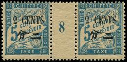 * Millésimes Des Colonies - CHINE Taxe 20 : 2c. Sur 5c. Bleu, Papier GC, PAIRE Mill.8, Timbres **, TTB - Non Classificati
