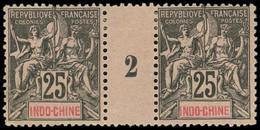 * Millésimes Des Colonies - INDOCHINE 10 : 25c. Noir Sur Rose, PAIRE Mill.2, TB - Ohne Zuordnung