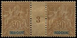 * Millésimes Des Colonies - INDOCHINE 11 : 30c. Brun, PAIRE Mill.3, TB - Ohne Zuordnung