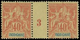 ** Millésimes Des Colonies - INDOCHINE 12 : 40c. Rouge-orange, PAIRE Mill.3, TB - Ohne Zuordnung