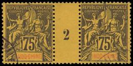 Millésimes Des Colonies - INDOCHINE 14 : 75c. Violet Sur Jaune, PAIRE Mill.2, Obl., TB - Ohne Zuordnung