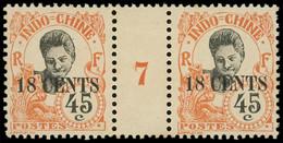 ** Millésimes Des Colonies - INDOCHINE 83 : 18c. Sur 45c. Orange, PAIRE Mill.7, Gomme Coloniale, TB - Ohne Zuordnung