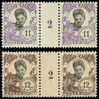 ** Millésimes Des Colonies - INDOCHINE 110/11 : 11c. Violet Et 12c. Brun, En PAIRES Mill.2, TB - Ohne Zuordnung