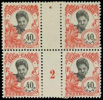 * Millésimes Des Colonies - INDOCHINE 114 : 40c. Rouge Sur Azuré, BLOC De 4 Mill.2, TB - Ohne Zuordnung