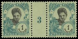 * Millésimes Des Colonies - INDOCHINE 115 : 1pi. Vert-bleu Sur Verdâtre, PAIRE Mill.3, TB - Ohne Zuordnung