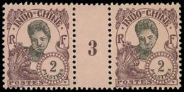 * Millésimes Des Colonies - INDOCHINE 116 : 2pi. Violet-brun Sur Lilas, PAIRE Mill.3, TB - Ohne Zuordnung