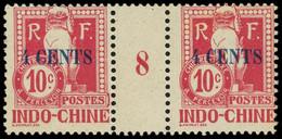 * Millésimes Des Colonies - INDOCHINE Taxe 21 : 4c. Sur 10c. Carmin, PAIRE Mill.8, Gomme Coloniale, TB - Ohne Zuordnung