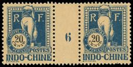 ** Millésimes Des Colonies - INDOCHINE Taxe 41 : 20c. Bleu Sur Chamois, PAIRE Mill.6, TB - Ohne Zuordnung