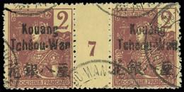 Millésimes Des Colonies - KOUANG-TCHEOU 2 : 2c. Lilas-brun Sur Paille, PAIRE Mill.7 Obl., TB - Ohne Zuordnung