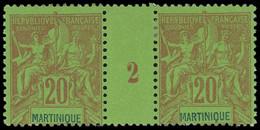 * Millésimes Des Colonies - MARTINIQUE 37 : 20c. Brique Sur Vert, PAIRE Mill.2, TB - Ohne Zuordnung