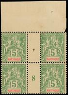 ** Millésimes Des Colonies - MARTINIQUE 44 : 5c. Vert-jaune, BLOC De 4 Mill.8, Haut De Feuille, TTB - Ohne Zuordnung