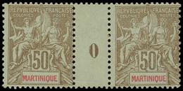 * Millésimes Des Colonies - MARTINIQUE 49 : 50c. Bistre Sur Azuré, PAIRE Mill.0, TB - Ohne Zuordnung
