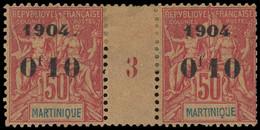 * Millésimes Des Colonies - MARTINIQUE 56 : 0f10 Sur 50c. Rose, PAIRE Mill.3, Forte Ch., Un Ex. Dents Rognées, Sinon TB - Ohne Zuordnung