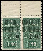 ** ALGERIE -  Colis Postaux 36a : 2f00 Sur 1f40 Vert, GRAND 2 Tenant à Normal, Bdf, TB. C - Paketmarken