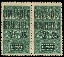 ** ALGERIE -  Colis Postaux 37ba : 2f25 Sur 1f55 Vert, GROS 2 Tenant à Normal, TB. Br - Paketmarken